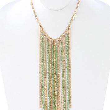 Green Iridescent Glass Bead Long Chain Fringe Bib Necklace