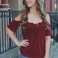 Catch My Drift Top - Burgundy