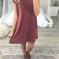 Lipari Islands Burgundy Short Sleeve T-Shirt Dress