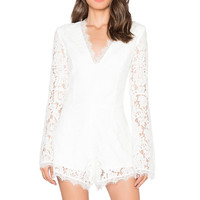 Endless Rose Lace Romper in Off White