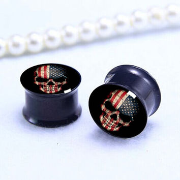 Pairs USA SKULL  flag  ear Plug  , Screw on  Black Titanium ear plugs ,0g,00g ,1/2, 9/16, 5/8, 3/4, 7/8,women/men  ear plugs