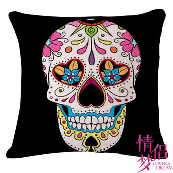 Halloween Mexican Sugar Skull Cushion(No inner)Decorative Throw Pillow Sofa Home Decor Almofada Cojines Decorativos Coussin
