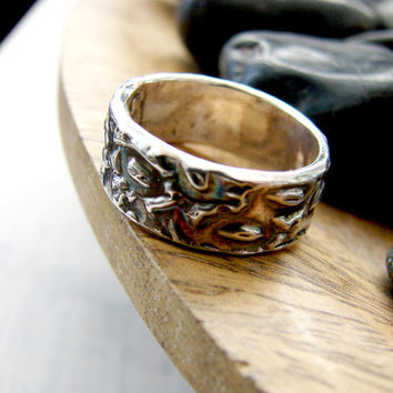 Silver Oxidized Mens Hammered Wedding Band