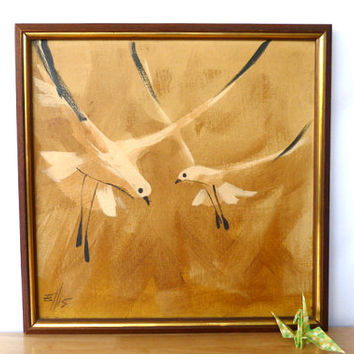 Vintage Birds In Flight Oil Painting 1950s Framed Original Oil Painting On Canvas Seagulls Cottage Decor Beach Decor Wall Hanging