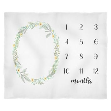 Floral Monthly Milestone Baby Blanket - Adorable Gift for Baby Girl