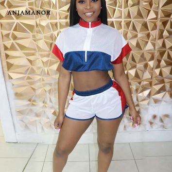 ANJAMANOR Color Block Mesh Casual Womens Two Piece Short Set 2019 Tracksuit Matching Sets Womans 2 Piece Summer Outfits D43-AB59