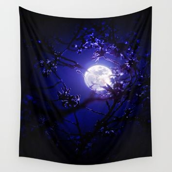 Dark Night Moonlight Wall Tapestry by 2sweet4words Designs