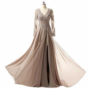 Mother Of The Bride Dresses Charming V neck A line Long sleeve Chiffon Applique Formal Evening Dresses Gowns