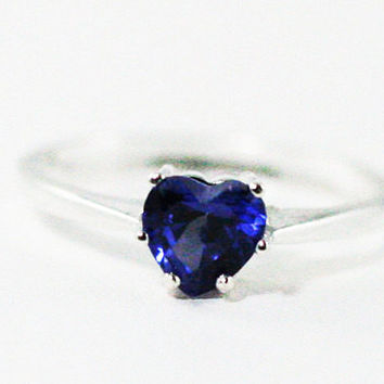 Blue Sapphire Heart Ring Sterling Silver, September Birthstone Ring, 925 Sapphire Ring, Blue Sapphire Heart Ring, 925 Sterling Silver Ring