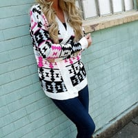Hot Pink Tribe Cardi | The Rage