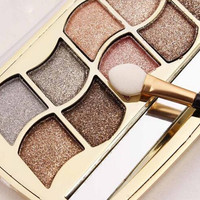 New 12 Colors Pallete Diamond Eyeshadow  Brand Pigment  Eye Shadow Waterproof Eyeshadow Palette Brush Kit Makeup