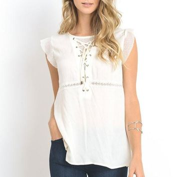 Lace up Top - Ivory
