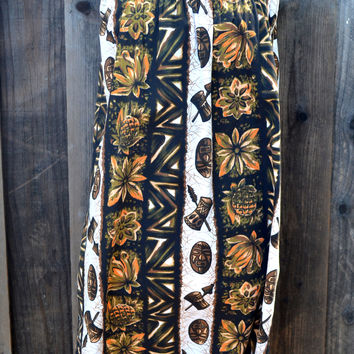 Vintage Ui-Maikai Hawaiian Dress, Brown, Orange Hawaiian Print Muumuu Pullover Dress, Sz S, Made in Hawaii, Tiki Luau Dress, circa 1960s