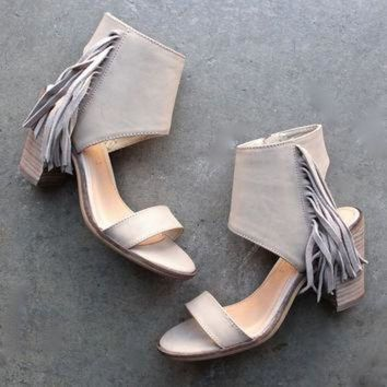 ONETOW very volatile - vermont fringe leather sandals - taupe