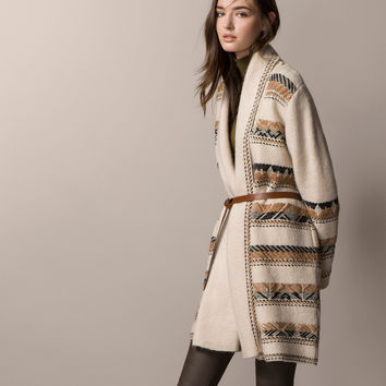 ETHNIC COAT WITH BELT - Cardigans - Knitwear - WOMEN - United Kingdom - Massimo Dutti