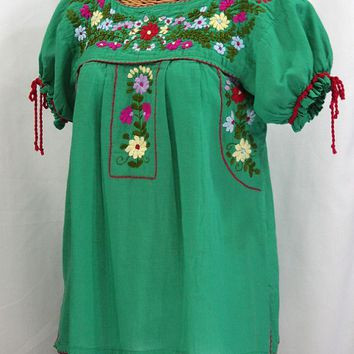 """La Antiguita"" Embroidered Mexican Style Peasant Blouse - Green"