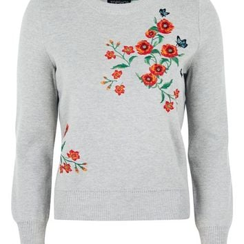 Floral Embroided Knitted Jumper