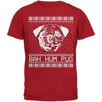 51d5accd7 Bah Hum Pug Ugly Christmas Sweater Red Youth T-Shirt