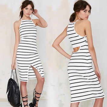 Striped  Spaghetti Hollow Out Europe and America Brief Style Cotton Pencil   Lady