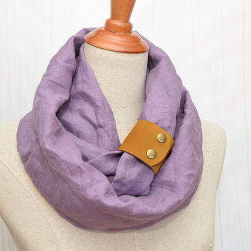 Linen Infinity Scarf. Chunky Scarf. Natural Linen. Pale purple. Tan leather cuff.