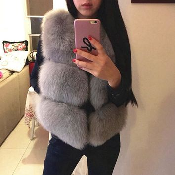 2016 New autumn winter fox fur vest faux fur vest women jacket mink waistcoat outerwear short paragraph fur coat Christmas