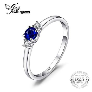 JewelryPalace Classic 0.5ct Round Created Sapphire 3 Stones Engagement Promise Ring 925 Sterling Silver Fashion Rings For Women