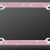 Chrome Metal Car License Plate Frame with Triple Row Pink Crystals