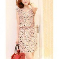 Colorful Circle Pattern Shoulder Pad Slimmed Expansion One Piece Dress 2 Colors