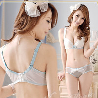 Shimmer Design Half Cup Push-up Demi Bra and Panty Set Lingerie