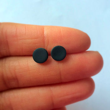 7 mm Matte Black Studs Unisex Small Post Studs