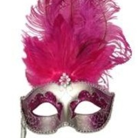 Paper Mache Silver Venetian Masquerade Mask On A Stick with Glitter Accents with Hot Pink Ostrich Feathers