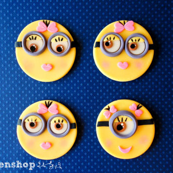 Minions girls/boys fondant cupcake toppers