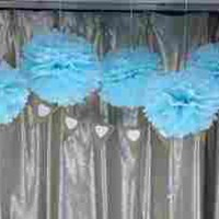 """Fonder Mols® Pack of 5 12"""" and 14"""" Baby Blue Party Tissue Paper Pom Poms Flower Ball Wedding Bridal Baby Shower Party Decoration"""