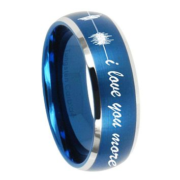 8MM Brush Blue Dome Sound Wave i love you more more Tungsten Carbide 2 Tone Laser Engraved Ring