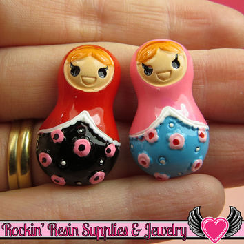 4 pcs Matryoshka Russian Doll Resin Decoden Flatback Kawaii Cabochons 30x18mm