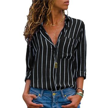 2019 Women Tops And Blouse Casual Striped Long Sleeve Chiffon Blouse Turn Down Collar Office Shirt For Ladies Plus Size Blusas