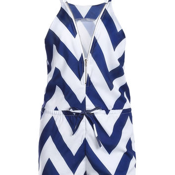 V-Neck Zig Zag Sleeveless Romper