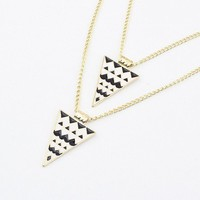 Punk Black And White Double Triangle Necklace