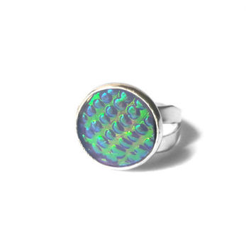 Mermaid Ring, Mermaid Scales Ring, Mermaid Jewelry, Holographic Ring, Nautical Ring, Teal Ring, Purple Ring, Resin Ring, Silver Ring
