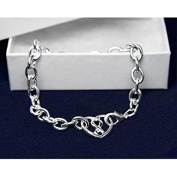 Chunky Silver Ribbon Heart Bracelet for Awareness of Mental Health with a Gift B
