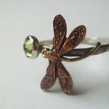 Dragonfly Ring, Peridot, Hammered Sterling Silver Ring, Handforged, Insect, Green Gemstone, Rose Gold