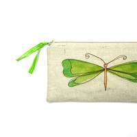 green butterfly pouch summer whimsical MADE TO ORDER personalized unique gift