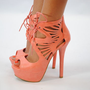 (anj) Laced cut out coral platform heels