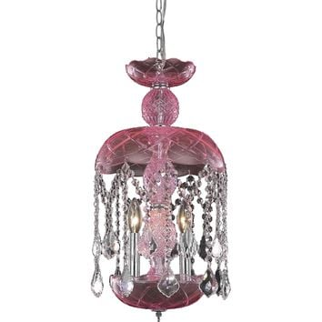 "Rococo 11"" Diam Chandelier, Pink Finish, Rosaline Pink Crystal, Royal Cut"