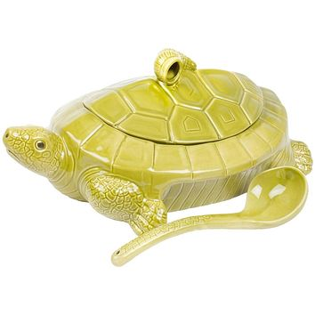 Turtle Body Soup Tureen With Ladle