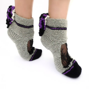 Purple Ruffle socks Lace ankle cuffs Beautiful Winter socks Boot socks Lolita Pastel Goth Rave Retro disco Wool Knit Warm socks Soft Grunge