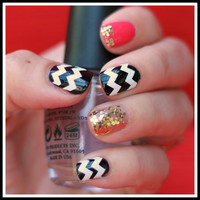 1 Sheet of 44 Chevron Nail Decals (You Pick the Color) Now in Neon Colors