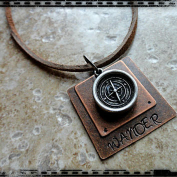 Mens Layered Hand Stamped Wander Leather Compass Charm Necklace Mens Compass