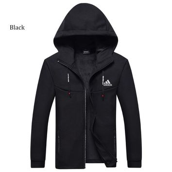 ADIDAS autumn and winter long-sleeved plus velvet thick warm hooded jacket Black