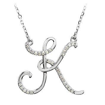 1/8 Ctw Diamond 14k White Gold Medium Script Initial K Necklace, 17in